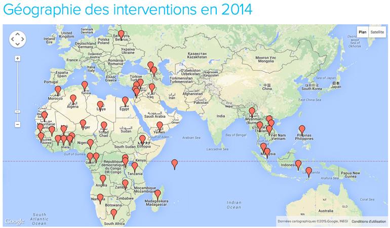 Géographie des interventions de CFI en 2014