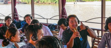 All on board for an environmental journalism training course in Cambodia
